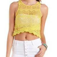 Yellow Lace Swing Tank Top by Charlotte Russe