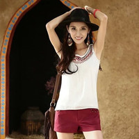White Floral Embroidered Sleeveless Shirt