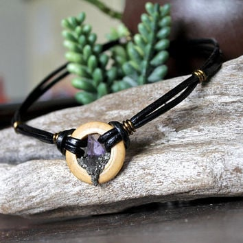 Purple Fluorite Choker, Raw Stone Necklace, Bohemian Jewelry, Wood & Black Leather Choker, Gypsy Chic Festival Fashion, Wicca, Hippie Styles