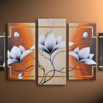 White flower blossom oil painting hand-painted on canvas