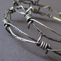 Barbed Wire Earrings, Sterling Silver Rocker Hoop Earrings - High Voltage Barbed Wire Earring