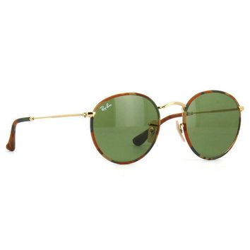 Kalete Ray Ban RB3447JM 168/4E Round Camouflage Sunglasses Gold Green Classic 50mm
