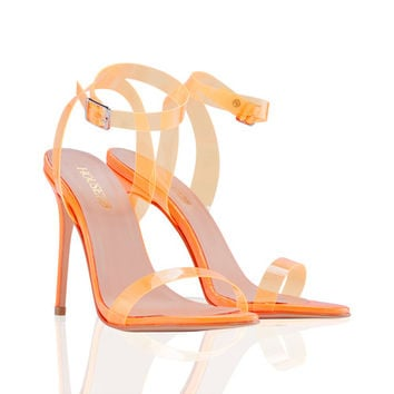 Shoes: 'GHOST' Neon Orange Straps Nude Sandals