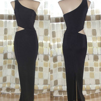 Vintage 80s Dramatic Cutout Waist One Shoulder Bombshell Gown Avant-Garde Wiggle Dress M/L 10 90s