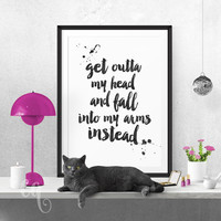 Wall art decor One Direction quote, minimalistic typography giclée print