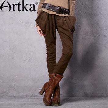 Artka Women's Spring New Vintage Cotton Plaid Wool Pants Casual Full Length Harem Trousers KA15156Q