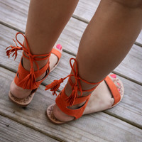 Athena Burnt Orange Lace Up Sandals