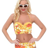Marigold Tropical Mid Rise Skirted Swim Bottom