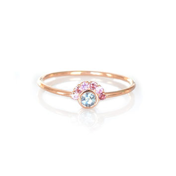 14kt Rose Gold Aquamarine and Sapphire Aztec Ring
