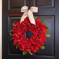 Christmas wreath, Holidays red hydrangea wreaths, wreaths floral gift, front door wreaths decorations