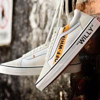 VANS OFF-WHITE Beige  Canvas Flats Sneakers Sport Shoes