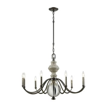 Neo Classica 9 Light Chandelier In Aged Black Nickel With Weathered Birch Finished Wood And Clear Crystal Ball