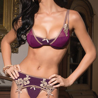Purple with Floral Crochet Bra and Garter Set