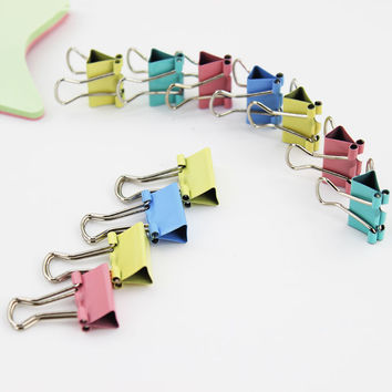Colorful Metal Binder Clips 15mm Notes Letter Paper Clip Learning Supplies Office Binding Products 1pcs