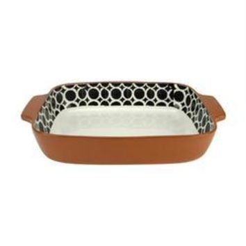 "14"" Basic Luxury Decorative Black and White Circle Rectangular Terracotta Oven Baking Dish"