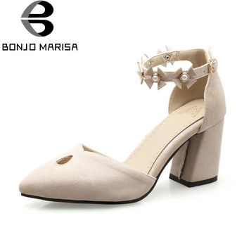 BONJOMARISA Women's Ankle Strap High Heel Summer Shoes Woman Party Wedding Pointed Toe Less Platform Pumps Big Size 32-46