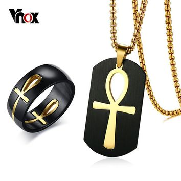 Vnox Men's Two Tone Cut out Ankh Egyptian Cross Ring and Necklace Stainless Steel