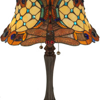 """0-018457>23""""h Tiffany Hanginghead Dragonfly 2-Light Table Lamp Brown"""