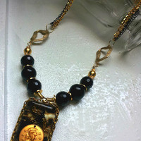 Gold Coin Necklace, Black and Gold Necklace, Coin Necklace, Black Gold Coin Necklace, Resin Coin Necklace