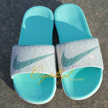 new arrival c8605 b6b4e GORGEOUS Swarovski Crystal Nike Benassi Womens Solarsoft Slide Bling  Sandals