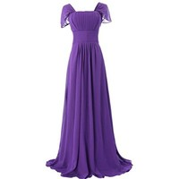 Fashion Plaza Tulle Butterfly Sleeves Empire-line Ruffles Bridesmaid Formal Evening Prom Party Dress D0160 (US4, Violet)