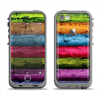 The Neon Heavy Grained Wood Apple iPhone 5c LifeProof Fre Case Skin Set