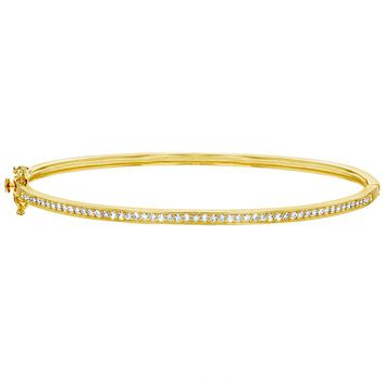Yellow Gold Flashed 925 Sterling Silver Clear CZ Hinged Bangle Bracelet Women