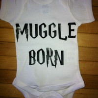 Cute Harry Potter Muggle Born Onesuit Bodysuit- Choose Your Color. Choose Your Size.