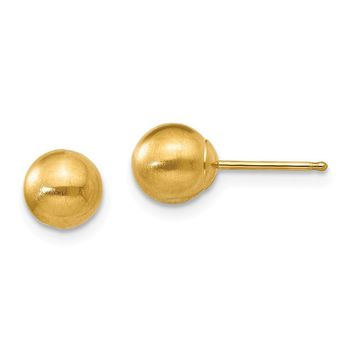 6mm Satin Ball Friction Back Post Earrings in 14k Yellow Gold