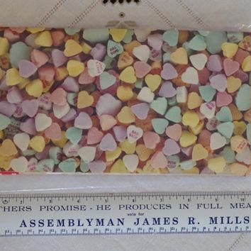 Vintage Valentine Wrapping Paper- NIP- 2 Sheets Unused Gift Wrap- Conversation Hearts