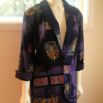 25% Sale 80's Purple Artsy Blazer. Boho Jacket. Oversized Boyfriend Fit. Lightweight. Ethnic. Small Medium