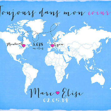 Long Distance Custom Wedding Gift 8x10 World Map, Engagement Gift, Anniversary Gift for Boyfriend, French Quote, Romantic, Miles Apart