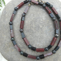 Mens Gemstone Necklace Jasper and Obsidian Free Worldwide Shipping