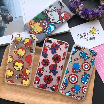 Fundas Phone Cases for iPhone 8 7 6 6S Plus SE 5 5S X Case Protector Cover Cartton Avengers Ironman Spiderman Captain America