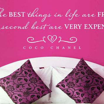 "Wall Vinyl Quote - ""The best things in life..."" - Coco Chanel (48"" x 15"")"