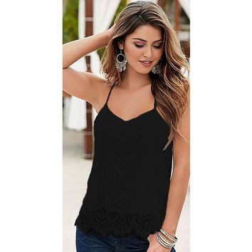 Women Tank Tops Vest V-neck Loose Sleeveless Top Solid Off Shoulder Lace Casual T-Shirt Summer