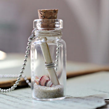 Australian Made Beach Bottle Necklace, Friendship Necklace, Secret Message In A Bottle Necklace, Australian Jewelry, Natural Jewelry, Sand