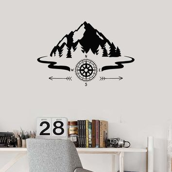 Vinyl Wall Decal Mountains Compass Camping Forest Camp Decor Art Stickers Mural (ig5651)