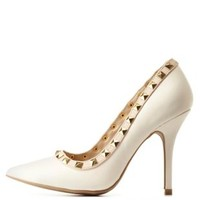 Stone Studded Pointed Toe Pumps by Charlotte Russe