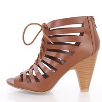 Tan Cut Out Lace Up Single Sole Booties Faux Leather