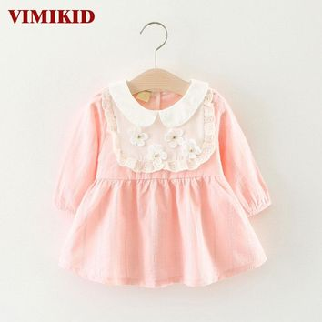 VIMIKID 2017 new Spring and Autumn baby girls dress Fashion solid color doll collar long sleeve toddler dress children dress