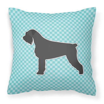 Giant Schnauzer Checkerboard Blue Fabric Decorative Pillow BB3773PW1414
