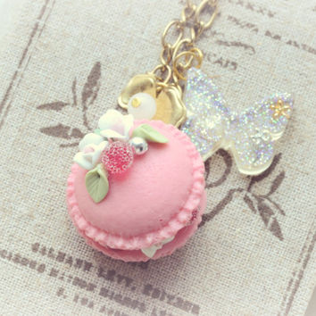 Macaroon jewelry, handmade food jewelry, pink macaron necklace, fake white cream with rose embellishment, whimsical jewelry ,gift under 20