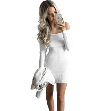 2016 Elegant White Stretchy Knitted Casual Dress Women Evening Party Sexy Bodycon Dress Girls Autumn Short Mini Pencil Vestidos