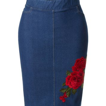 LE3NO Womens Stretchy Elastic Waistband Denim Pencil Midi Skirt with Floral Embroidery