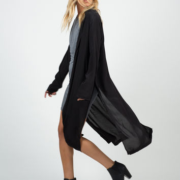 Mid-Length Open Collar Jacket - Large
