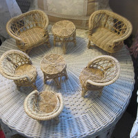 Nice Group of Barbie Doll Furniture Wicker and Rattan