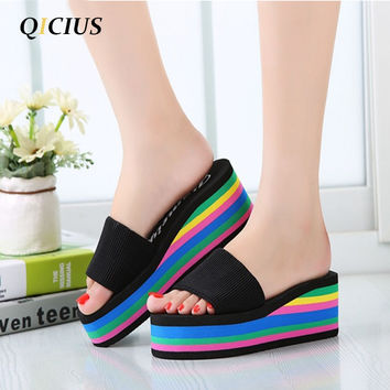 QICIUS Women Sandals Platform Rainbow Non-Slip Thick Soled Female Wedge Women Slippers Summer 2017 Beach Slippers T0245