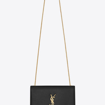 medium kate chain bag in black textured leather