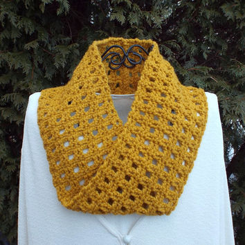 Mustard Yellow Infinity Scarf - Womens Cowl - Circle Scarf - Ladies Neck Warmer - Mobius Scarf - Spring Fashion Scarf